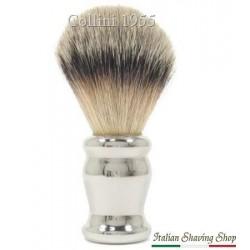 Pennello da barba in tasso manico ottone cromato