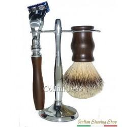 Set da barba alto con rasoio Fusion - manici in Ebano