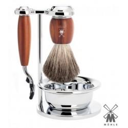Set da barba Mühle Mach3 legno di susino con ciotola