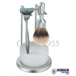 Stand da barba Merkur Mach3 satinato con ciotola