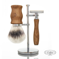 Set da barba Rasoio DE e manici in Olivo Collini1955