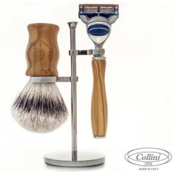 Set da barba Rasoio Fusion e manici in Olivo Collini1955
