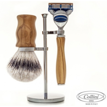 Set da barba Rasoio Fusion e manici in Olivo Collini1955