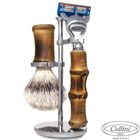 Set da barba Rasoio Fusion e manici Bamboo Collini1955