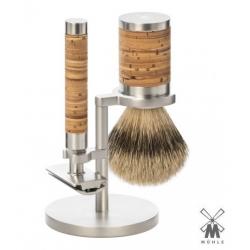Set da barba Mühle SR95 ROCCA Inox Manico Betulla