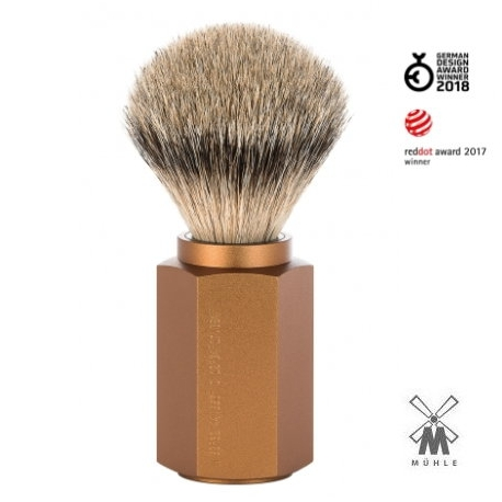 Pennello da barba in tasso Muhle Hexagon Bronze
