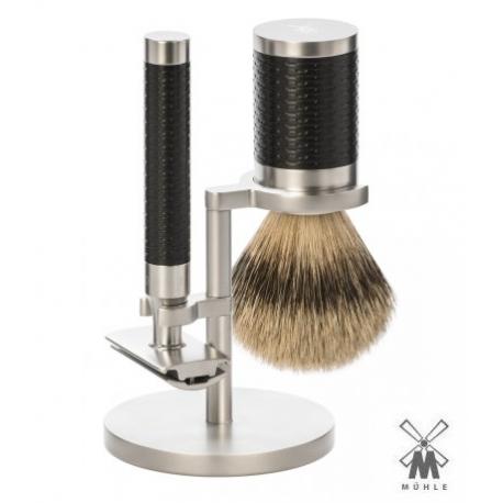 Set da barba Mühle ROCCA Inox Manico Inserto Nero