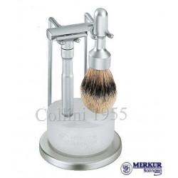 Stand da barba Merkur Futur satinato con ciotola